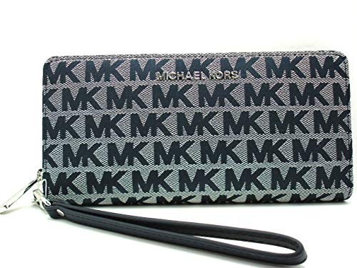 """Travel glamorously with the Jet Set Continental zip-around wallet by Michael Kors Full zip around closure, Saffiano Leather/Polyester Fabric Lining Features crossgrain leather, classic gold-tone hardware, and detachable wristlet strap Width: 8.25"""", L..."""