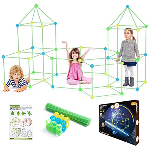 Kids Fort Building Kit Glow in the Dark, 150Pcs Building Toys for 3 4...