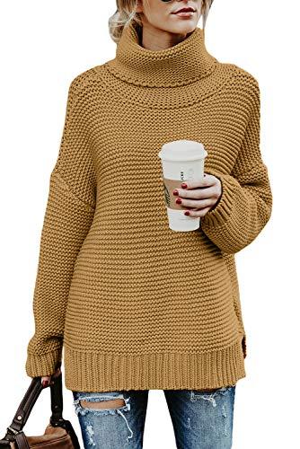 QAKEHU Damen Rollkragenpullover Strickpullover Lässig Rollkragen Pullover Grobstrick Winterpullover Sweater Elegante Einfarbig Strickpulli A Yellow XL