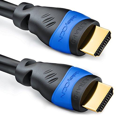 deleyCON HDMI Set - 3X 0,5m HDMI Kabel + 2X HDMI Winkel Adapter (90° + 270° Grad) + 3X Klett-Kabelbinder + Microfaser Reinigungstuch