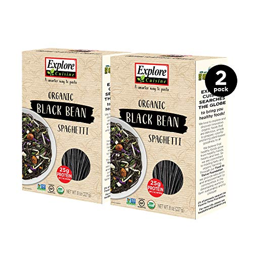 Explore Cuisine Organic Black Bean Spaghetti (2 Pack) - 8 oz - Easy to Make Gluten-Free Pasta - High in Plant-Based Protein - USDA Certified Organic, Non-GMO, Vegan, Kosher - 8 Total Servings