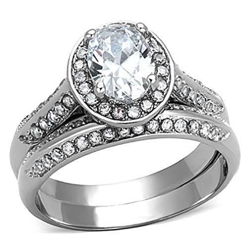 Doublebeez Jewelry Stainless Steel Clear Cubic Zirconia Halo Oval 2 Piece...
