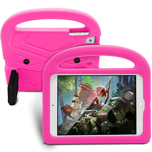 Tading iPad Mini Case Kids, Children Friendly Light Weight Shockproof Handle Stand Protective Case Cover for iPad Mini, Mini 2, Mini 3, Mini 4 and Mini 5 (2019 Model) 7.9' Tablet Only - Hot Pink