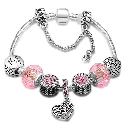 A TE Bracciale Charm da Donna e Ragazza crisralli rosa Beads Regalo Festa SKU:JW-B34