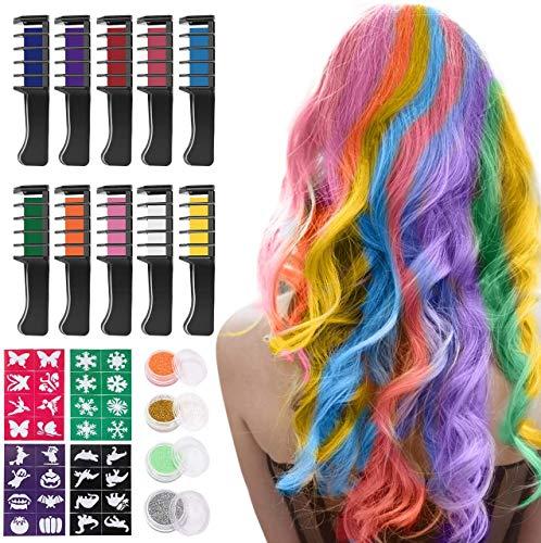 Capelli Gesso, Kastiny 10 Colore Capelli Temporanea Gesso, Hair Chalk Gessetti per Capelli Non...
