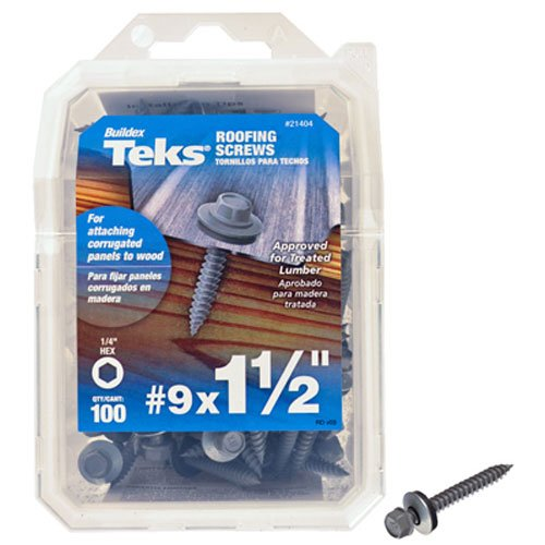 ITW Brands 21404 Series 100PK9x1-1/2 Roof Screw, 9 x 1-1/2