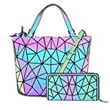 Hot One Farbänderungen Geometrische Leuchtende Geldbörsen und Handtaschen Holographic Purse Reflective Purse Fashion Rucksäcke (5# Leuchtend Groß+Reißverschluss Brieftasche)