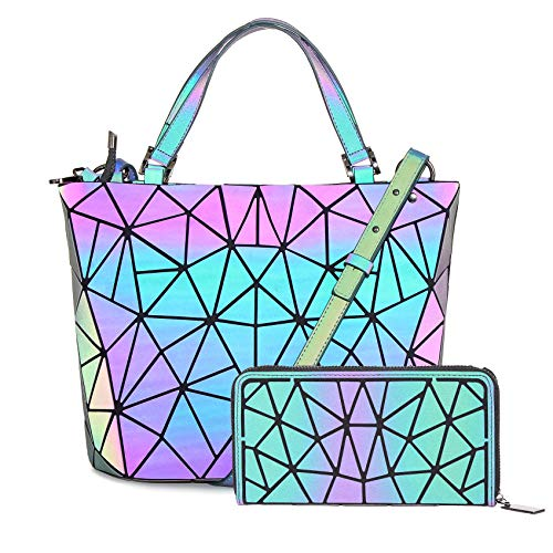 HotOne Geometric Purse Holographic Purse and Handbag Color Changes Luminous Purse and Wallet Set for Women(Luminous Medium +Wallet B)