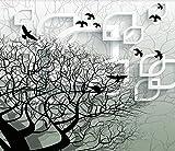 Papel Pintado Pared 3D Fotomurales Pájaros Voladores Abstractos En Ramas De Árboles Grandes Negros Mural Pared Pintado Papel Tapiz Salón Dormitorio Tv Fondo Decoración De Pared 250x175cm