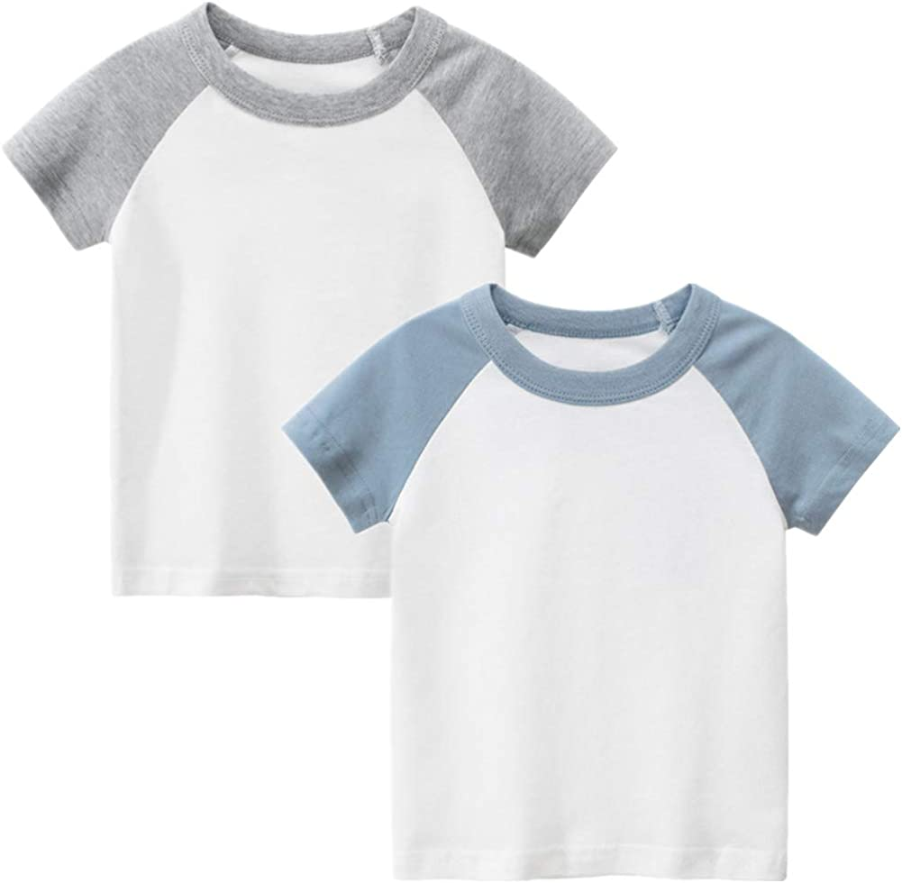 PTPuke Boys Girls T-Shirts Cotton Soft Solid Crewneck Raglan Short Sleeve Undershirt for DIY Kids 2-7T