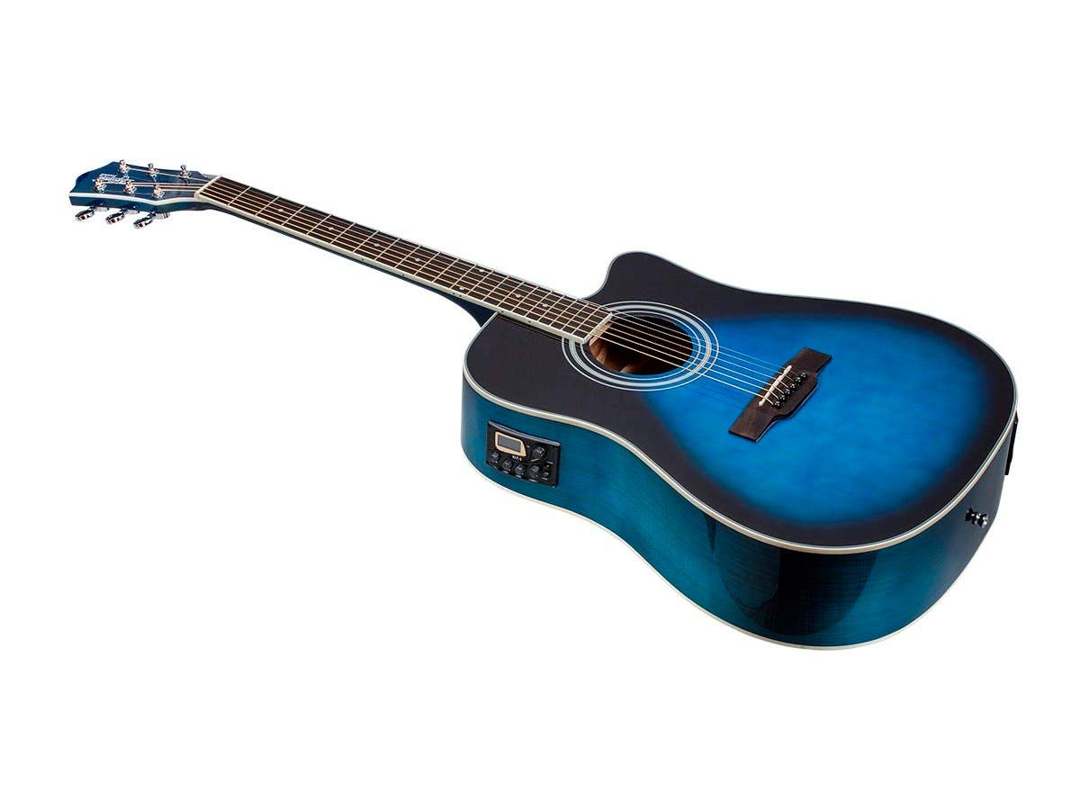 Cheap Monoprice 6 String Idyllwild Foothill Acoustic Electric Guitar with Tuner Pickup and Gig Bag Blue Burst (610064) Black Friday & Cyber Monday 2019