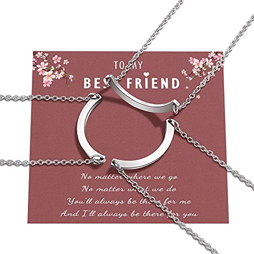 3 Friendship Best Friend Necklaces Half Circle Matching BFF Sliver Necklace for 3 Teen Girls Women Friends Daughter Sisters Gifts