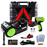 Wayska Electric Car Jack 5 Ton, 12V Electric Hydraulic Floor Jack LCD Display Screen, Electric Jack with Electric Impact Wrench for SUV Sedan Truck Lift and Change Tires