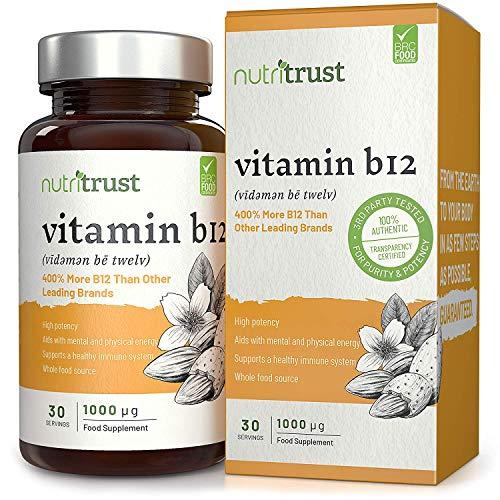 Comprimés vitamine B12 1000μg par Nutritrust - Formule efficace 400% plus riche en vitamine B12 – Ingrédients d'origine naturelle pour une meilleure bio-disponibilité & commodité – Certification BPF