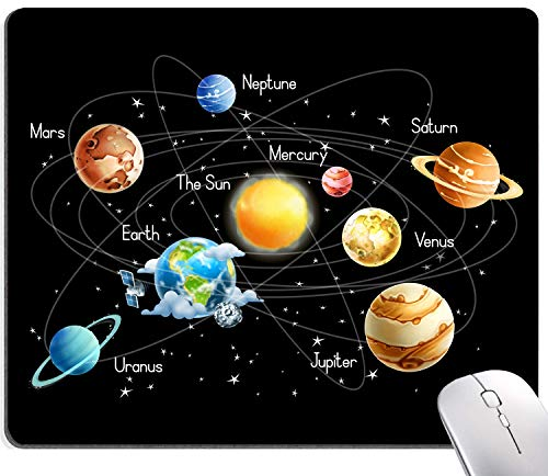 Solar System Planets Stars and Milky Way Galaxy Space Gaming Mouse Pad Square MousePadNon-SlipRubberBaseGamingMousePadsforComputersLaptopOffice,9.5'x7.9'x0.12'Inch(240mmx200mmx3mm)