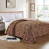 softan Faux Fur Bed Blanket in Leopard Print, Reversible Soft Fluffy Minky Fleece Throw Blanket, Machine Washable, Brown, 90'×90'