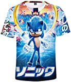 Silver Basic Camiseta Deportiva para Niños 3D Inspirada en la Popular Película y Videojuego Sonic The Hedgehog Summer T-Shirt Sonic Cosplay tee Top XS,919Sonic Cosplay-3