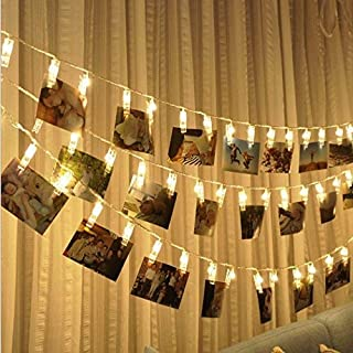 Bangcool 10ft 20 LED Clip String Lights Battery Operated Photo Clip Fairy String Lights for Bedroom Christmas Memorial Valentine's Day