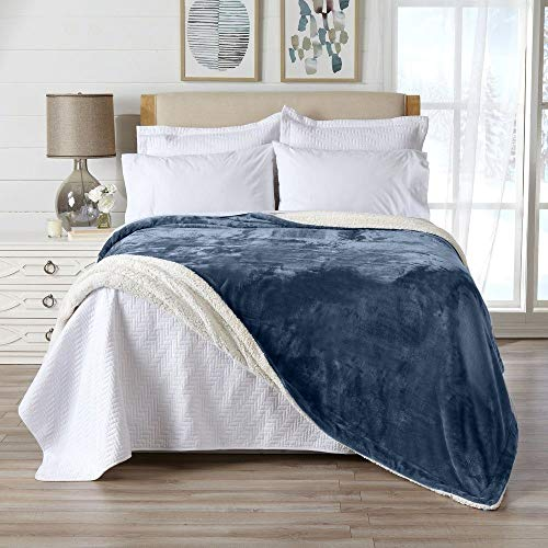 1 Piece Casual All Season Reversible Velvet Plush Sherpa Blanket King, Soft Smooth Luxurious Comfortable Look Lightweight Breathable Solid Dark Denim Blue Microplush Bed Blanket