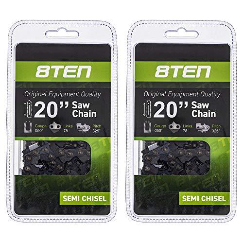 8TEN Chainsaw Chain 20 inch Bar .050 Gauge .325 Pitch 78DL for Husqvarna 42 50 240 440 136 Jonsered CS 2250 2 Pack