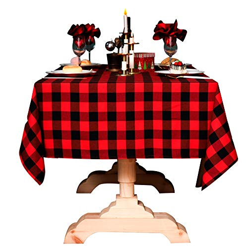 Kaaltisy Square Tablecloth Buffalo Check Plaid 55' x 55'...