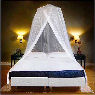 EVEN NATURALS Luxury Mosquito Net Bed Canopy, Large: for Single to Queen Size, Quick Easy Installation, Finest Holes: Mesh 300, Curtain Netting with Entry, Storage Bag, No Chemicals Added from EVEN NATURALS