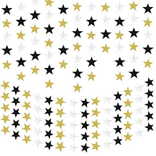 Yumi V Brillo de Pies Guirnalda de Papel de Estrella Reflectante Decoraciones para Fiestas Temáticas de Cumpleaños/Vacaciones/Bodas/Aniversarios/Graduaciones