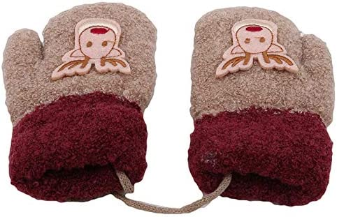 Fashion Children Christmas Thick Gloves Warm Winter Knitted Gloves Mittens Christmas Girls Boys Gloves - (Color: Khaki)