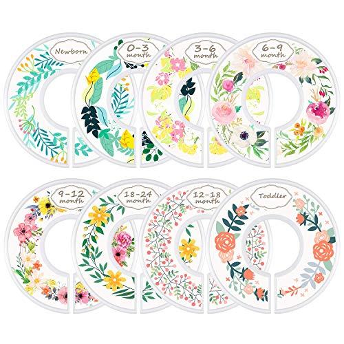 Divisores del tamaño de la ropa del armario del bebé, juego de 8 divisores de la ropa del armario del bebé del cuarto de niños - patrón de flores