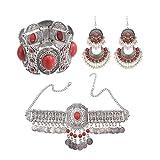 LPZW. Gypsy Indische Halskette Afghanische oxidierte Quaste Münze Jhumka Ohrringe & Armband &...