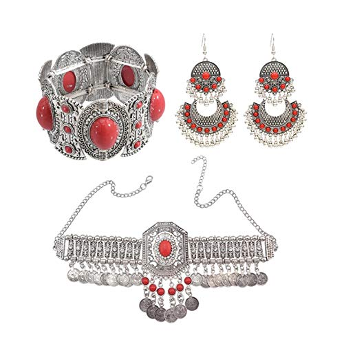 DSJTCH Gypsy Indian Necklace Afghan Oxidized Tassel Coin Jhumka Earrings&Bracelet&necklace&Waist Belly Chains Boho Turkish Jewelry Sets (Metal color : 3 red set)
