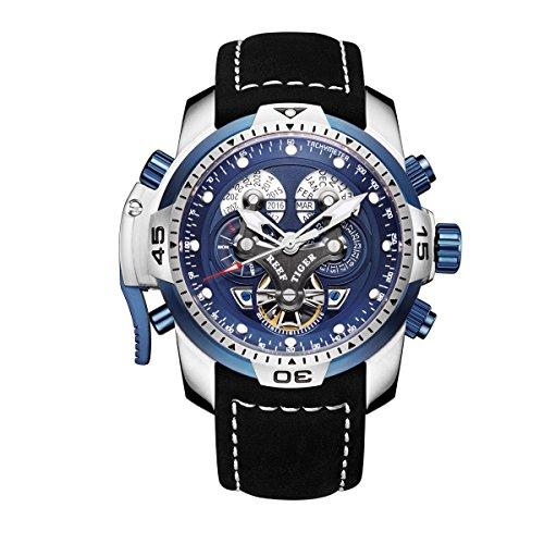 REEF TIGER Herren Uhr analog Automatik mit Leder Armband RGA3503-YLBLB