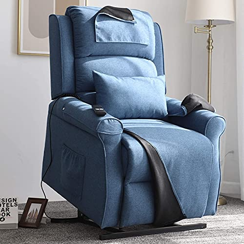 Irene House Power Lift Chair Modern Transitional Chair Lifts for Elderly Up to 300 LBS Soft Linen Breath Suede Fabric Sofa Lift Chairs Recliners Power Lift Recliner with Side Pocket (Blue)