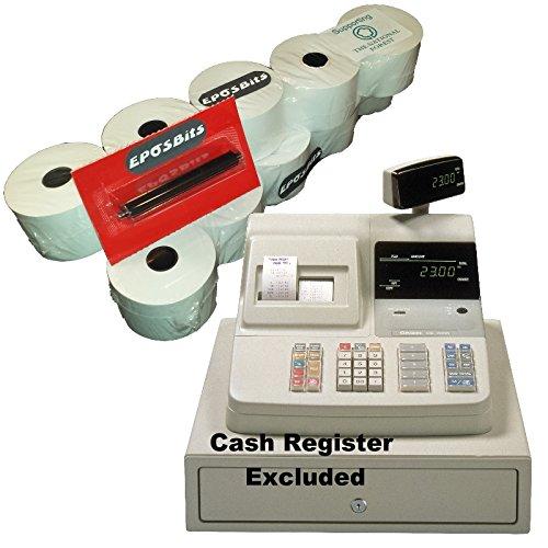 Rollos y tinta de EPOSBITS® para máquinas registradoras Casio CE-2300 CE2300 (10 rollos, 1 tinta)