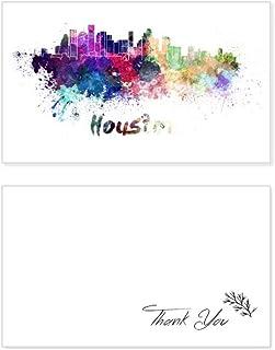 Houston America City Watercolor Thank You Card Birthday Paper Greeting Wedding Appreciation
