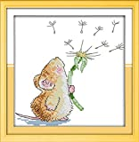 eGoodn Stamped Cross Stitch Starter Kits Beginners Cross-Stitching Pre-Printed Pattern - Mouse and Dandelion 11ct 12 inches by 12 inches, No Frame