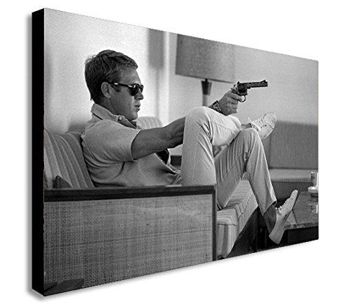 Kunstdruck von Steve McQueen mit Pistole auf Leinwand, Wandschmuck–in verschiedenen Größen erhältlich, holz, A0 47x33 inches