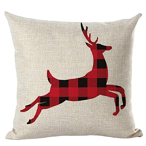 Wurfkissen Fghyh Frohe Weihnachten Kissenbezüge Leinen Sofa Kissenbezug Home Decor Pillow Core(E)