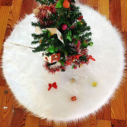 WeyTy Weißer Weihnachtsbaumrock, 35.4Inches/90CM Runder Rock für Weihnachtsbaumständer mit Multicolor LED Beleuchtet Weihnachtsbaumschürze für Weihnachtsbaum Dekoration Neujahr Party Dekorationen