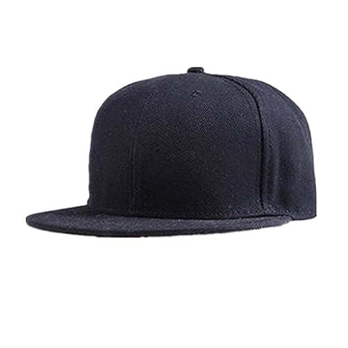 Berretto baseball Familizo Berretto da baseball unisex Plain Snapback Hats  Hip-Hop regolabile (Nero 937b213a76b4