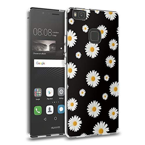 Pnakqil Huawei P9 Lite Cover Trasparente, Premium Custodia Silicone con Disegni Leggero Ultra Sottile TPU Morbido Antiurto 3d Pattern Bumper Case per Huawei P9 Lite, Margherite Bianche