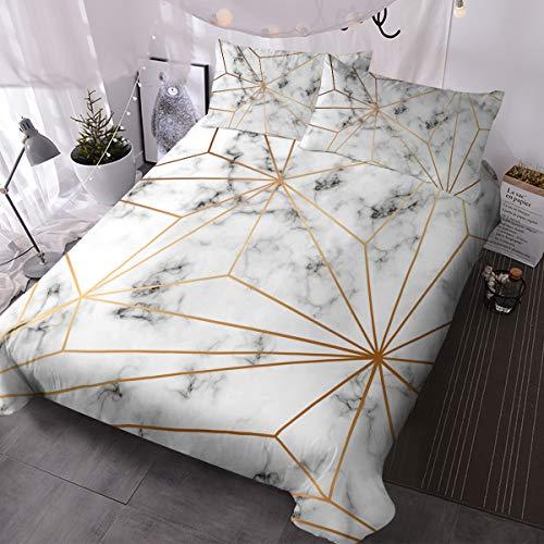 Blessliving Marmor-Bettbezug, Marmor-Muster, Bettwäsche, 3-teilig, weiß, grau und gold, geometrisches Bettwäsche-Set, nordisches Bettwäsche-Set, moderne Schlafzimmer-Dekoration (Doppel)