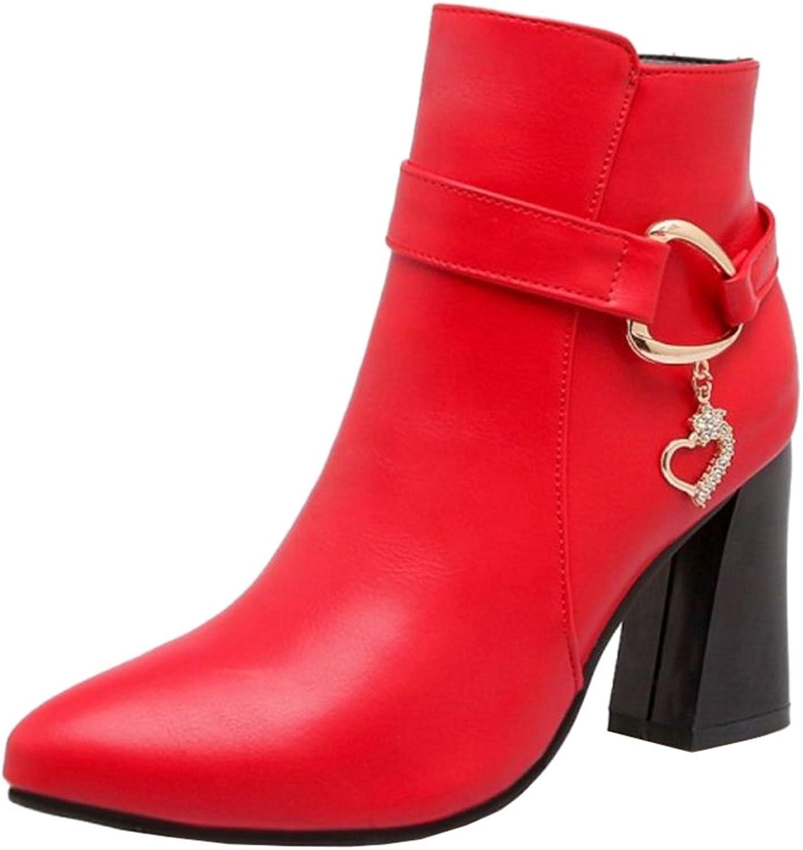 Smilice Women Fashion & Dress Ankle Booties High Block Heel Zipper shoes Black
