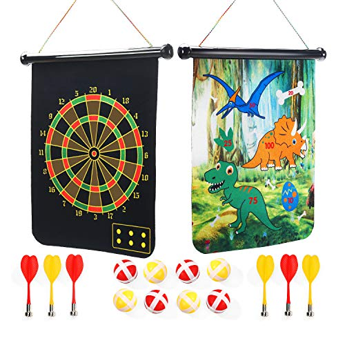 CUTE STONE Magnetic Dart Board Outdoor Game Backyard Outside Activities for Kids, Boys and Girls