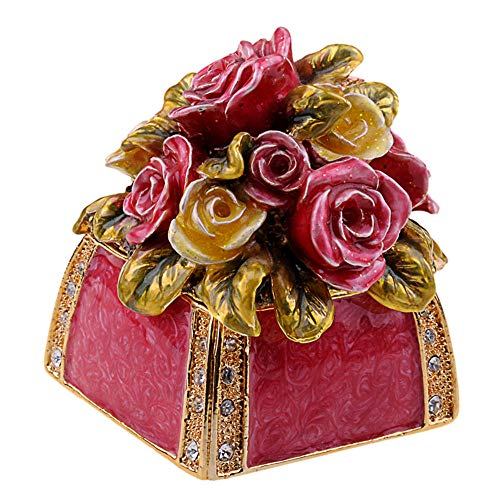 DDXW Caja de joyería pequeña de la flor de la rosa de la flor de la joyería de la decoración del escritorio caja de almacenamiento de la joyería del recuerdo del