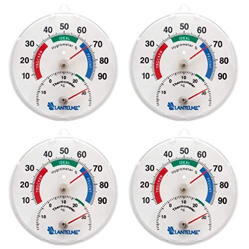 Lantelme Kombi Thermometer Hygrometer 4 Stück Set zur Wohn Raumklima Überwachung analog 7409