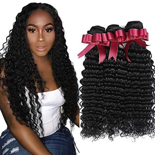 Brazilian Deep Wave Hair Bundles 9A Unprocessed Virgin Human Hair 3 Bundles (14 16 18,300g) Deep Curly Human Hair Bundles Wet and Wavy Hair Bundles Extensions Natural Black