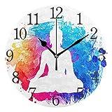 SKYDA - Reloj de pared con números árabes, diseño indio, Buda, yoga, Zen redondo, para salón,...
