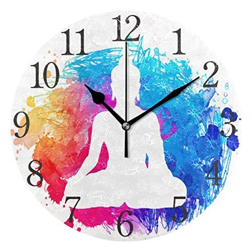 SKYDA - Reloj de Pared, diseño de números arábigos Indios Buda Yoga Zen Round