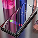 Lejaao Mobile Flip Cover for Samsung Galaxy M31s Mirror Clear View with Magnetic Stand Protective Cases Diamond Black